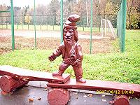 резная лавочка из бревна скульптура